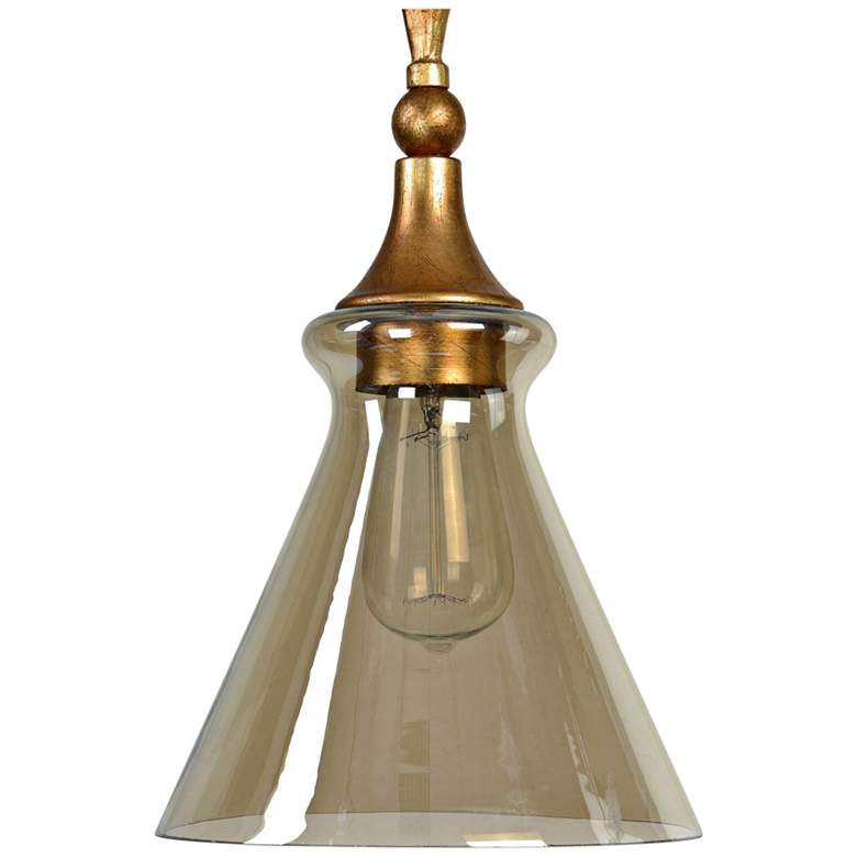 "Uttermost Glam 8"" Wide Antiqued Gold Leaf Mini Pendant more views"