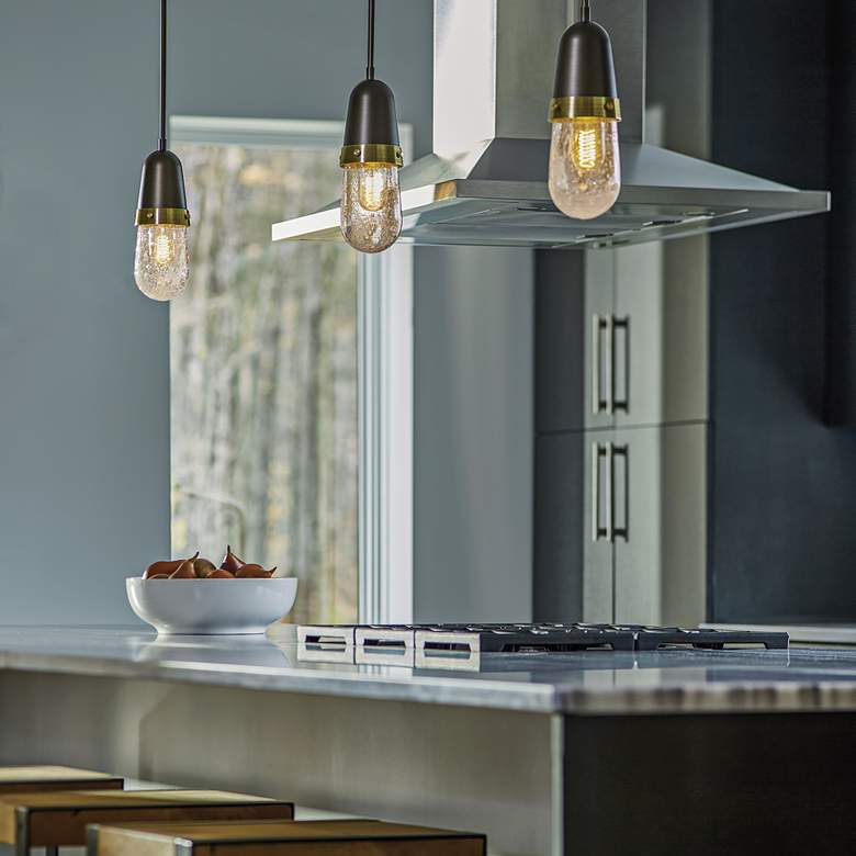 "Hubbardton Forge Fizz 4"" Wide Dark Smoke Mini Pendant more views"