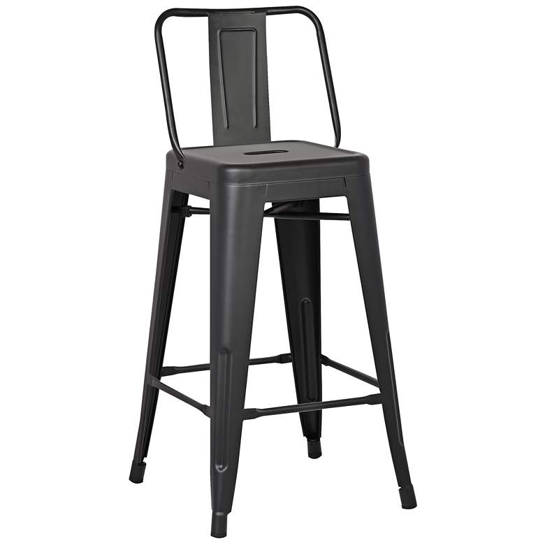 "AC Pacific Castro 30"" Matte Black Back Bar Stool Set of 2 more views"