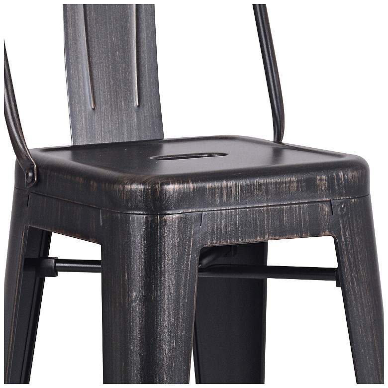 "Castro 30"" Distressed Black Back Bar Stool Set of 2 more views"