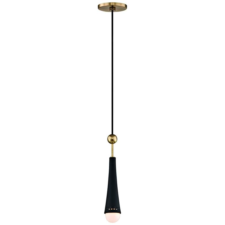 "Tupelo 2 1/2"" Wide Aged Brass and Black LED Mini Pendant more views"