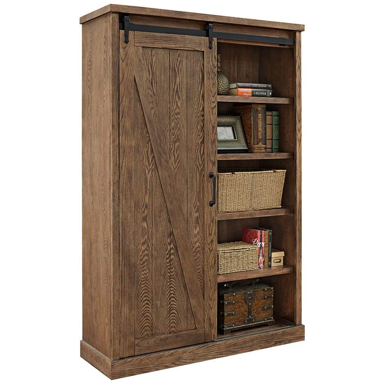 "Avondale 72"" High Weathered Oak 5-Shelf Wood Bookcase more views"