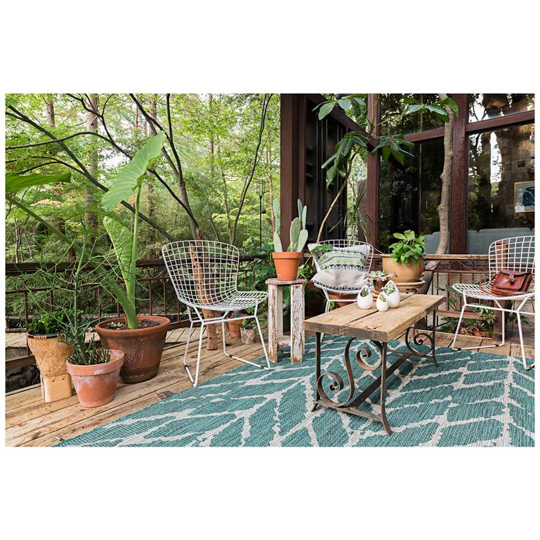 "Isle IE-02 5'3""x7'7"" Teal and Gray Outdoor Area Rug more views"