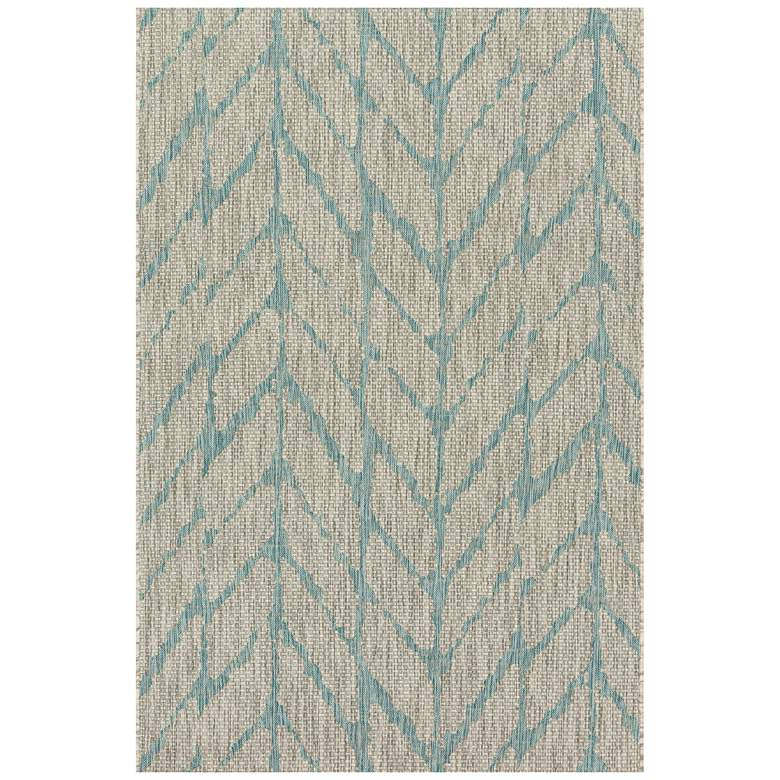 "Isle IE-02 5'3""x7'7"" Mist and Aqua Outdoor Area Rug more views"