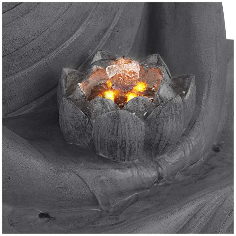 "Buddha 25"" High Gray Stone Indoor/Outdoor LED Fountain more views"