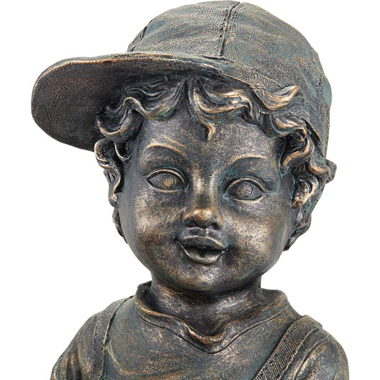 "Boy with Garden Pots 24"" High Stone Outdoor Fountain more views"