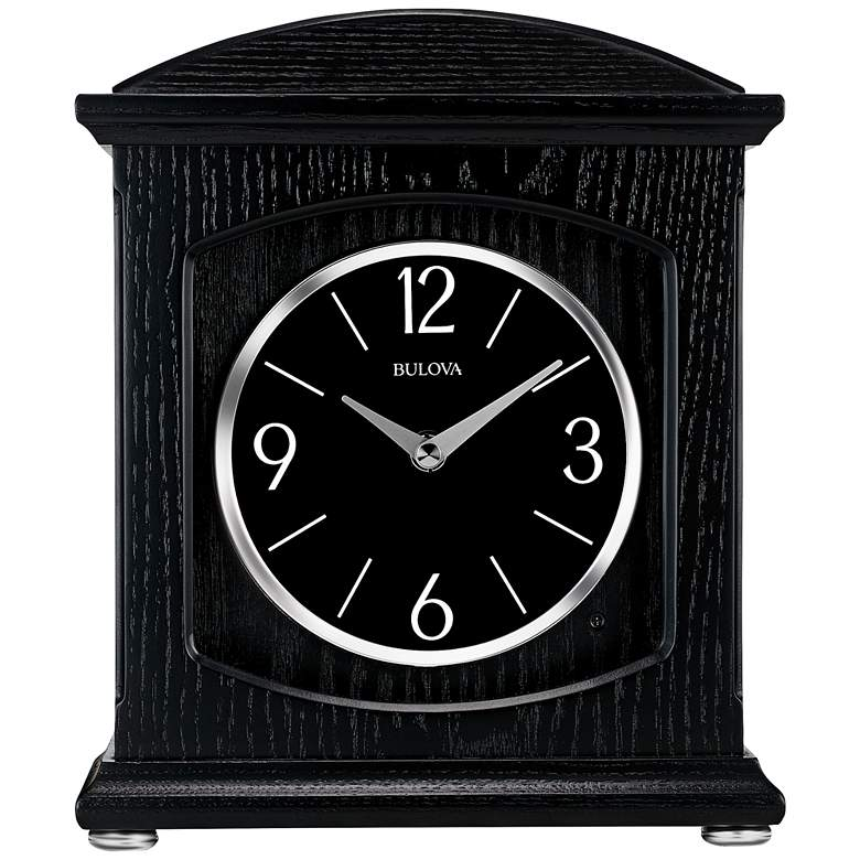 "Bulova Glendale Ebony Wood 9 3/4"" High Table Clock more views"