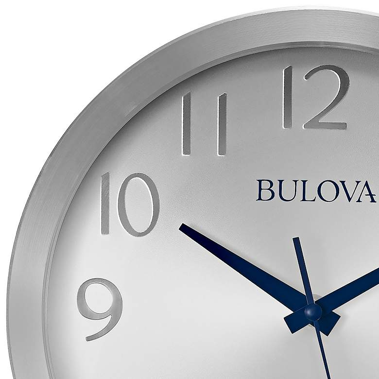 "Bulova Winston Silver Metal 9 3/4"" Round Wall Clock more views"