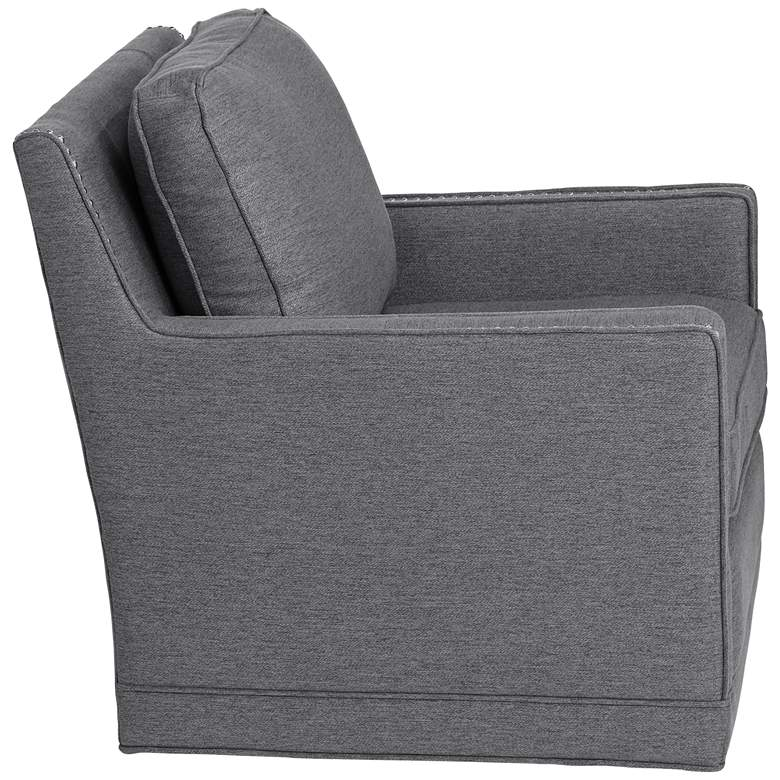 Clinton Mica Gray Linen Fabric Swivel Chair more views