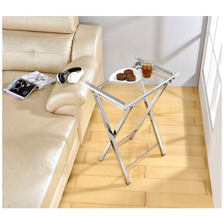 "Mari 20"" Wide Clear and Chrome Folding TV Tables - Set of 2 more views"