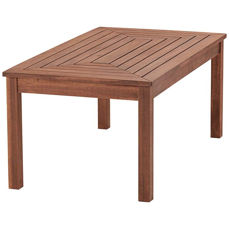 "Nantucket 42"" Wide Dark Natural Wood Outdoor Coffee Table more views"
