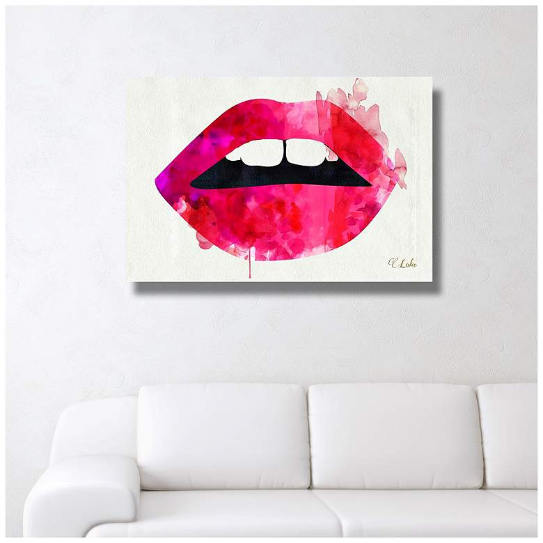 "Oliver Gal Lola's Lips 15"" Wide Canvas Wall Art more views"