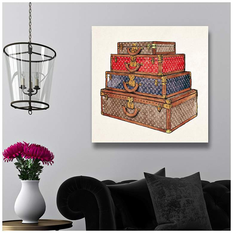 "Oliver Gal The Royal Luggage 12"" Square Canvas Wall Art more views"