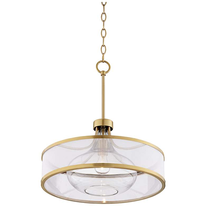 "Possini Euro Layne 19"" Wide Warm Antique Brass Pendant Light more views"
