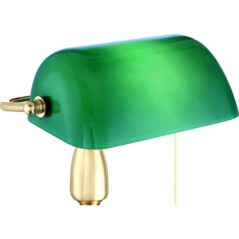 Hammond Green Glass Brass Bankers Table Lamp more views