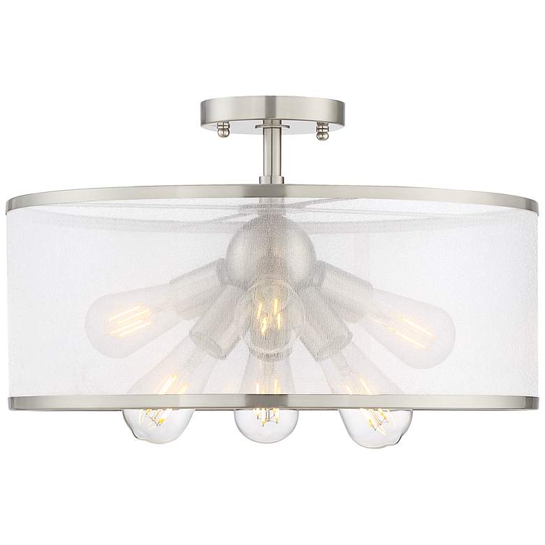"Taur 18"" Wide Brushed Nickel 6-Light LED Ceiling Light more views"