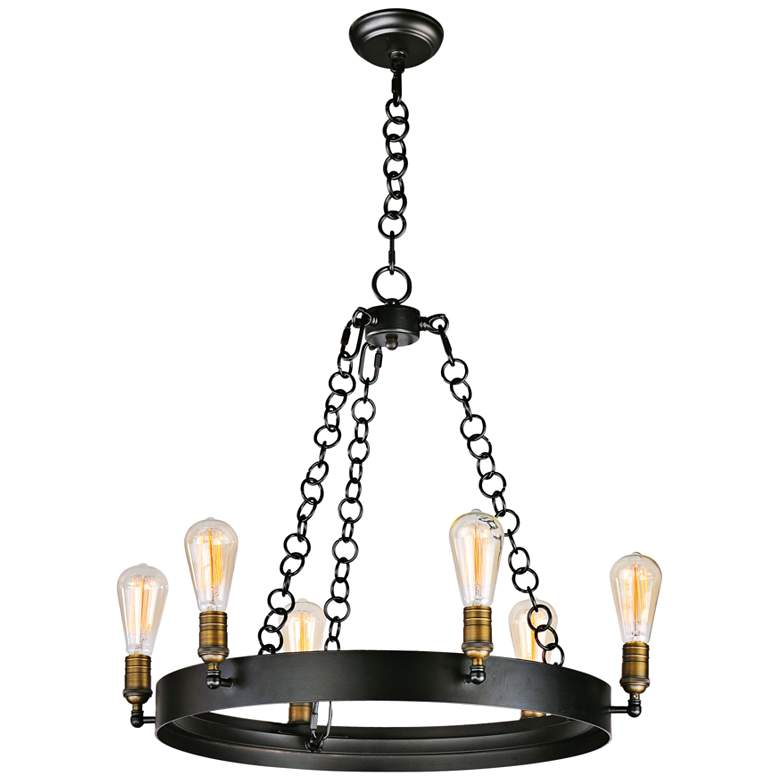 "Maxim Noble 26"" Wide Black and Aged Brass 6-Light Chandelier more views"