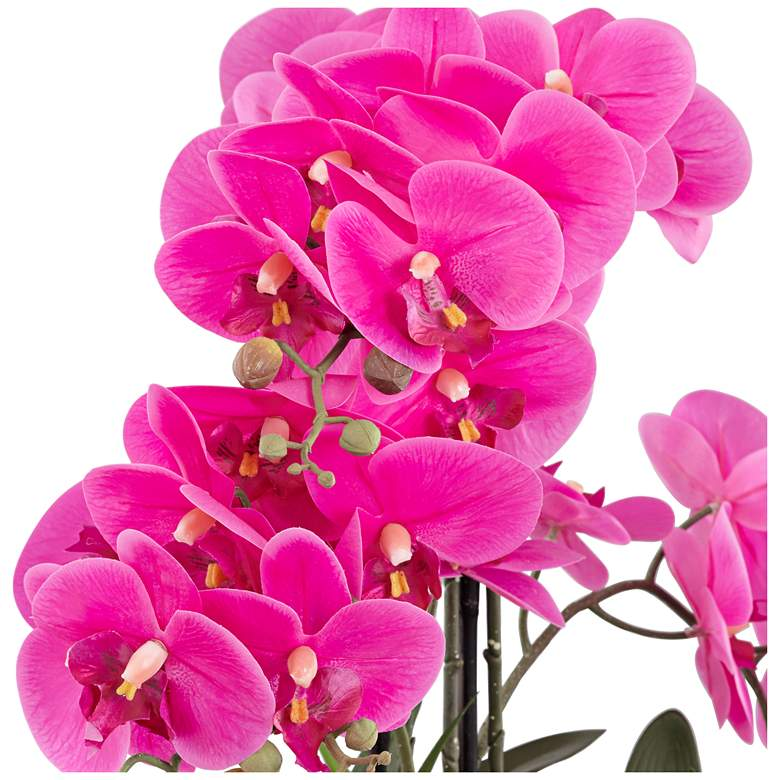 "Real Touch Pink Orchid 28"" High Faux Flowers in White Pot more views"