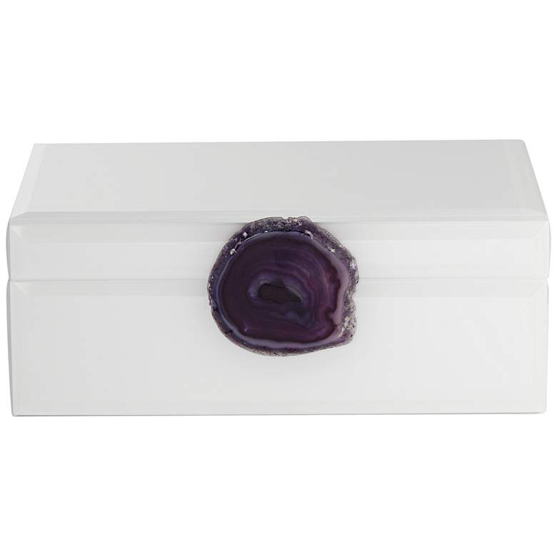 "Carillon White and Purple Agate 9 1/2"" Wide Decorative Box more views"