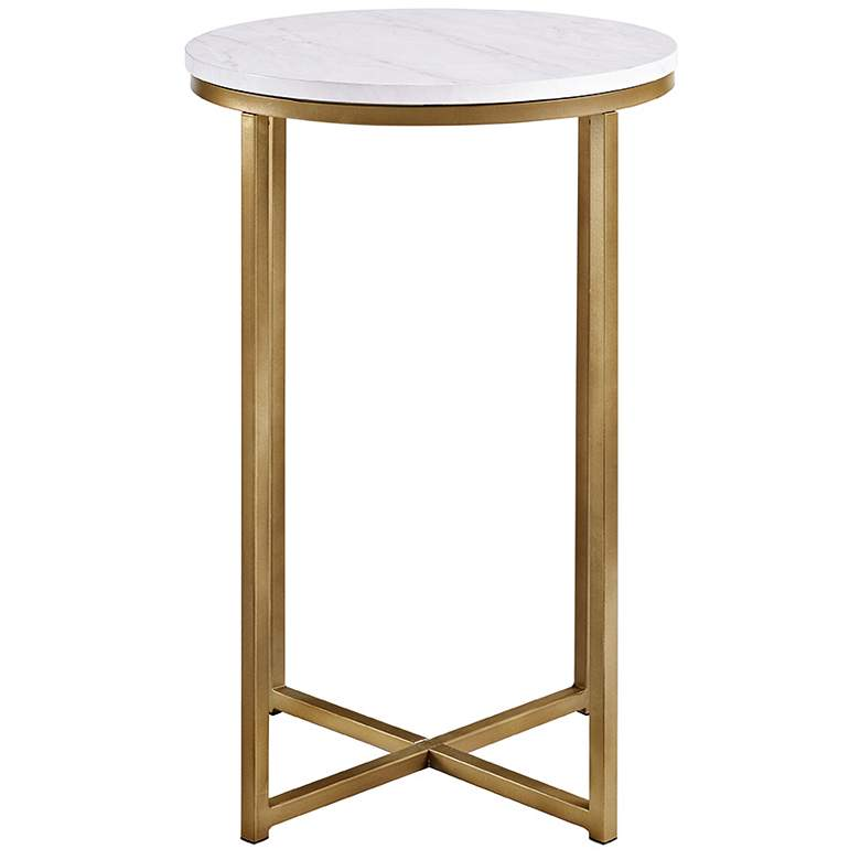"Aurelia 16"" Wide Faux Marble and Gold Modern Side Table more views"