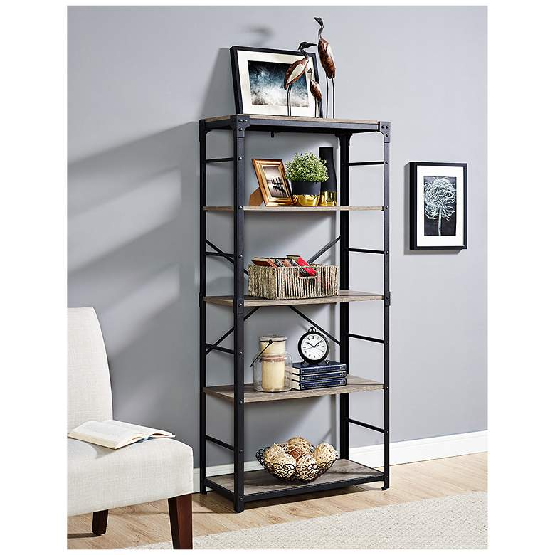 "Angle Iron 64"" High Gray Driftwood 4-Shelf Bookcase  more views"