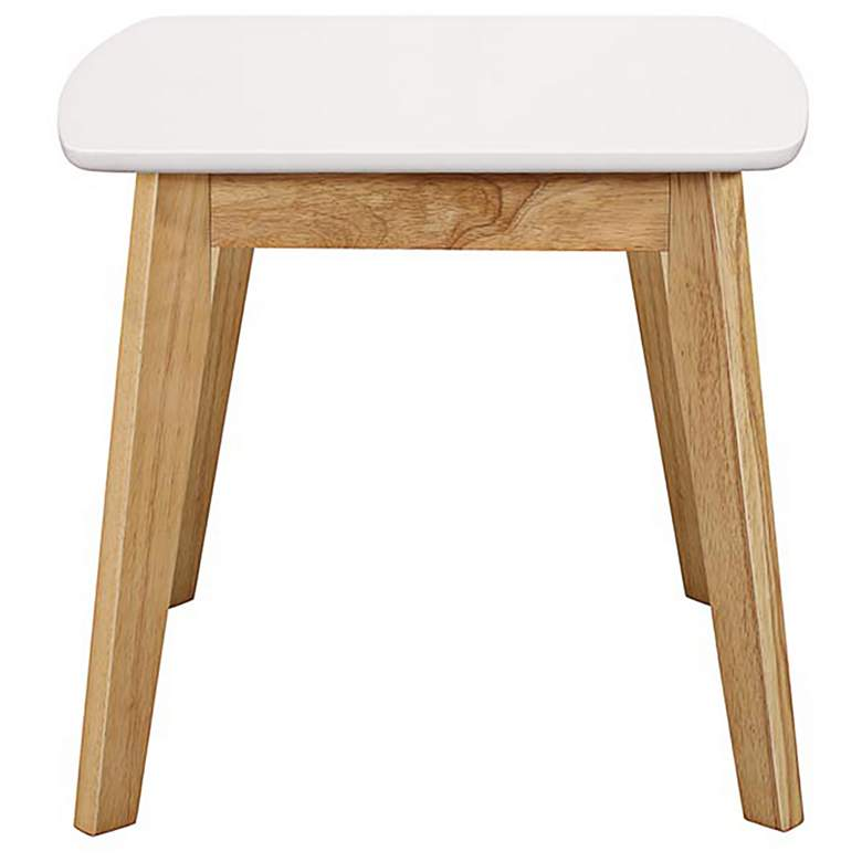 "Retro 20"" Wide White and Wood Modern End Tables Set of 2 more views"