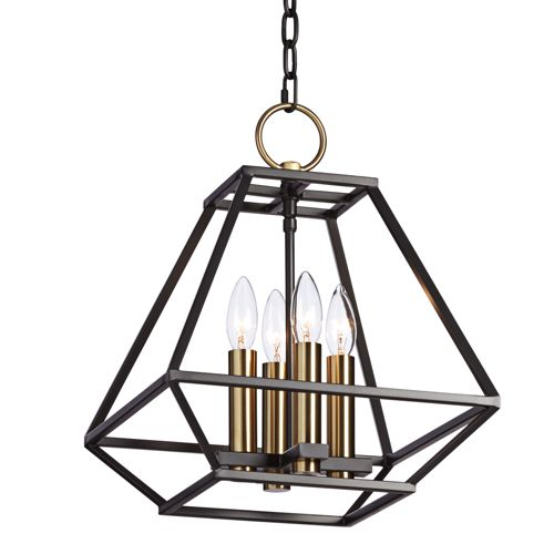"Ivon 13"" Wide Natural Black Iron 4-Light Entry Pendant Light"