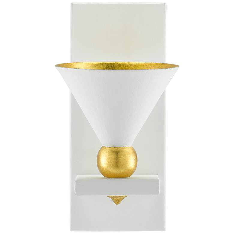 "Moderne 12"" High Gesso White and Gold Leaf Wall Sconce more views"