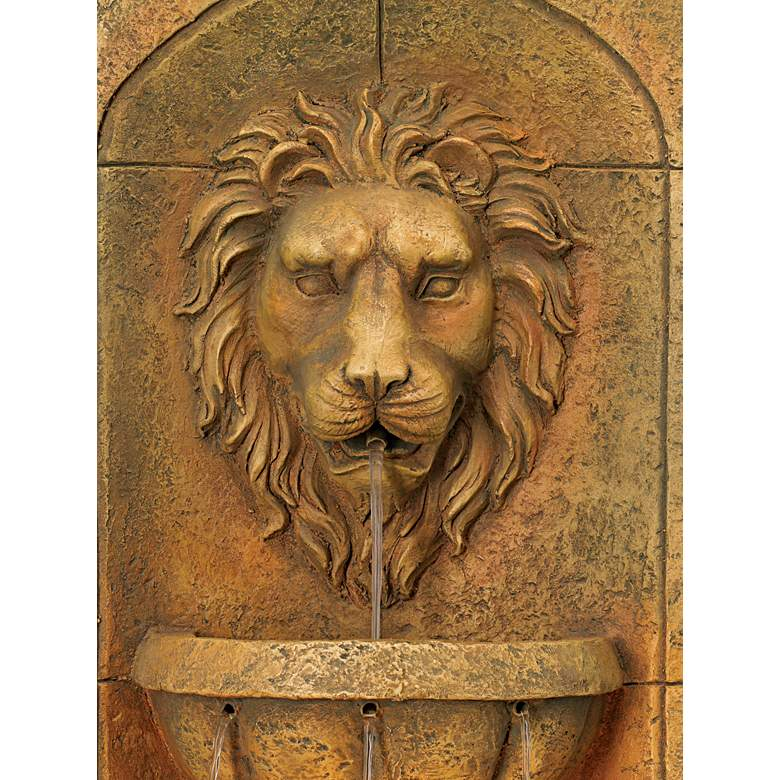 Lion Head Faux Stone 29 1 2 Quot High Led Wall Fountain