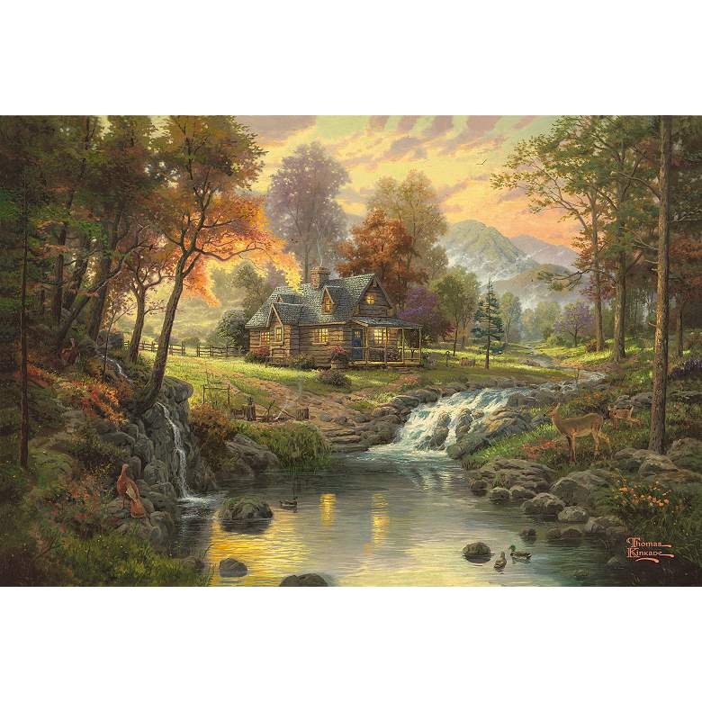 Thomas Kinkade Mountain Retreat Giclee Nickel Floor Lamp more views