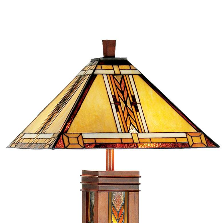Walnut Mission Tiffany Style Floor Lamp with Night Light more views