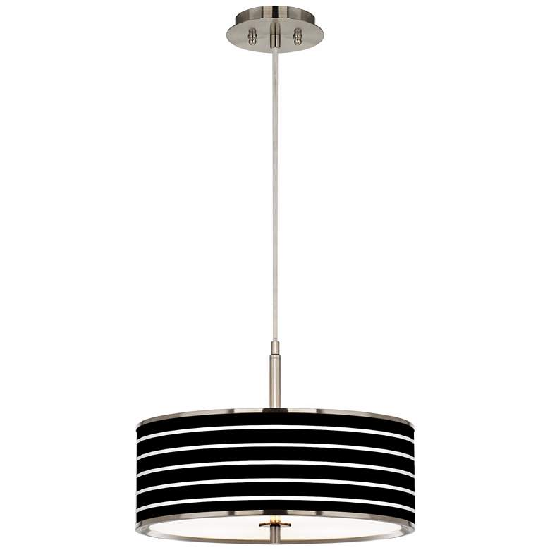 "Bold Black Stripe Giclee Glow 16"" Wide Pendant Light more views"