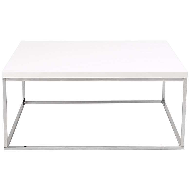 "Teresa 35 1/2"" Square High-Gloss White Modern Coffee Table more views"
