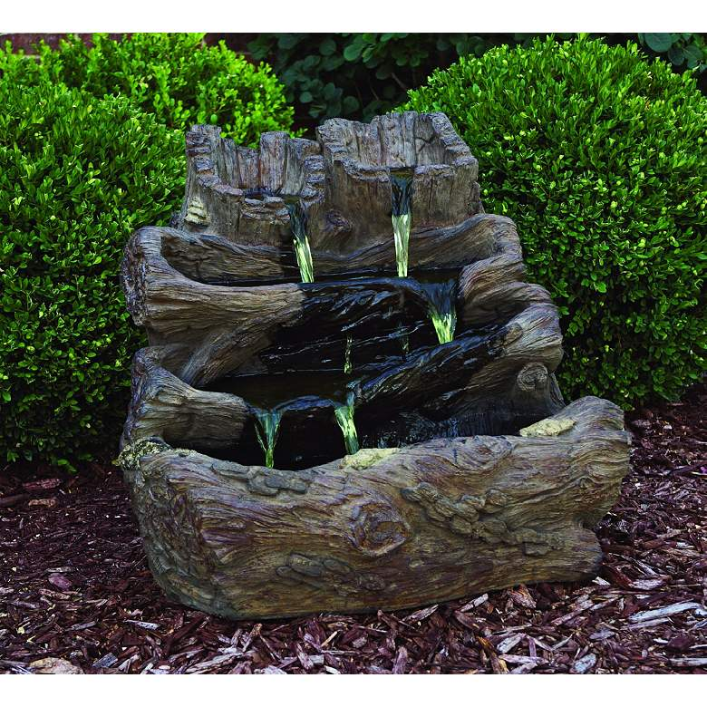 Spilling Logs Cast Stone Fountain with Light more views