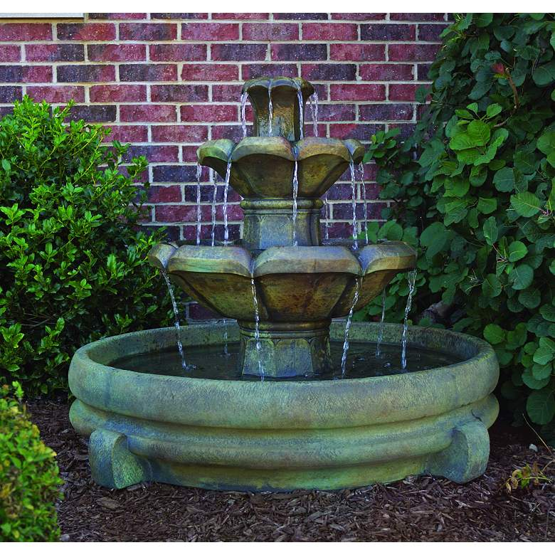 "Henri Studio Montreux 32"" Cast Stone 3-Tier Garden Fountain more views"