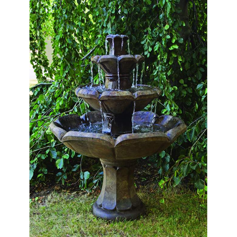 "Henri Studio Montreux 48""H Cast Stone 4-Tier Floor Fountain more views"