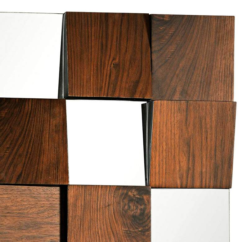 "Westside Walnut Veneer 36"" Contemporary Square Wall Mirror more views"