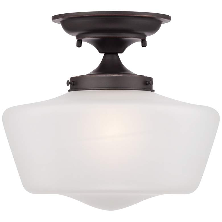 "Schoolhouse Floating 12"" Wide Bronze Opaque Ceiling Light more views"