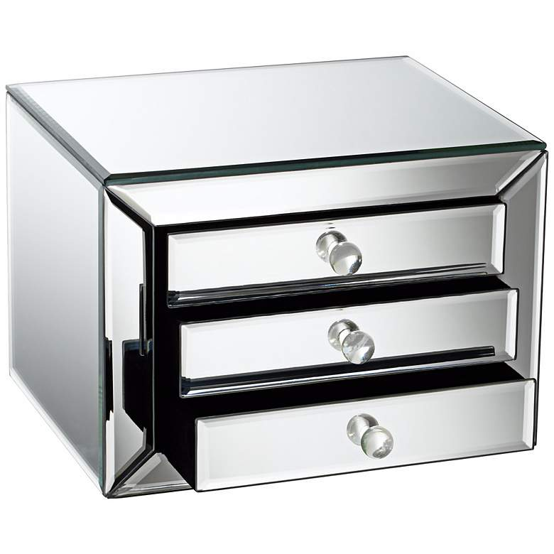 Mirrored Glass 3-Drawer Jewelry Box more views