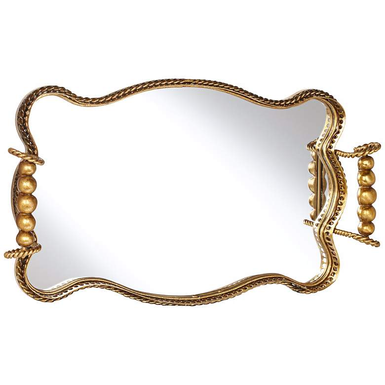 Antonia Antique Gold Leaf Mirrored Tray more views