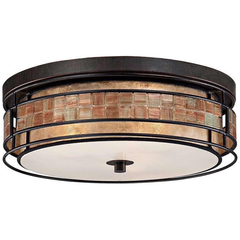 "Laguna 16"" Wide Copper Tile and Mica Glass Ceiling Light more views"
