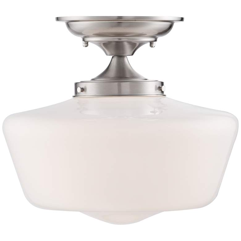 "Schoolhouse Floating 12"" Wide Nickel Opaque Ceiling Light more views"