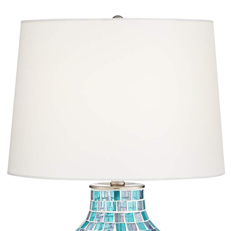 Teal Blue Glass Mosaic Jar Table Lamp more views