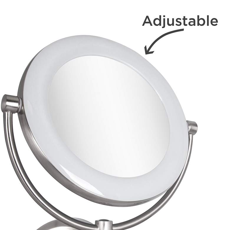 "Surround Lighted 12 3/4"" High Satin Nickel Makeup Mirror more views"