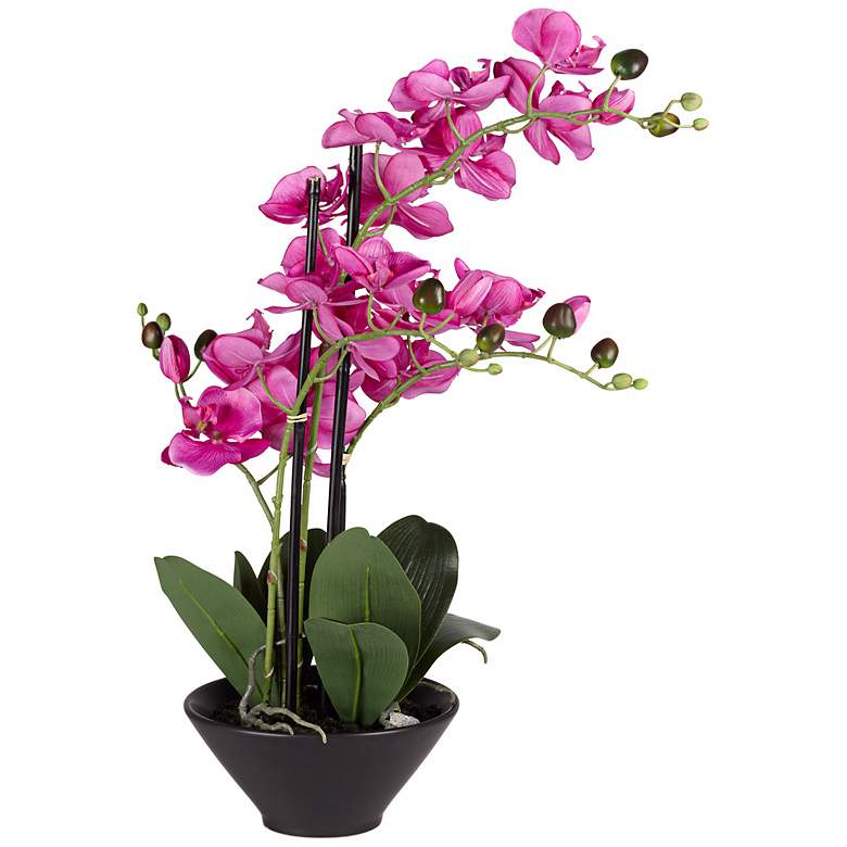 "Multi Stem Purple 21"" High Faux Orchids in Black Pot more views"