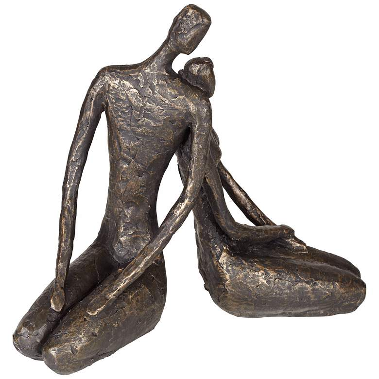 "Loving Couple 11 1/2"" Wide Bronze Sculpture more views"