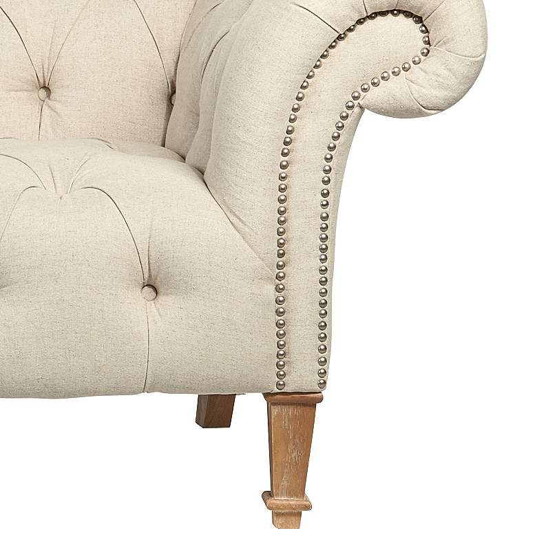 "Tessa 90 3/4"" Wide Tufted Beige Linen French Sofa more views"