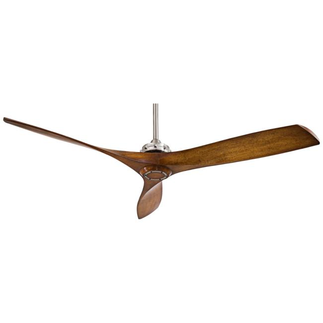 "60"" Minka Aire Aviation Brushed Nickel and Koa Ceiling Fan"