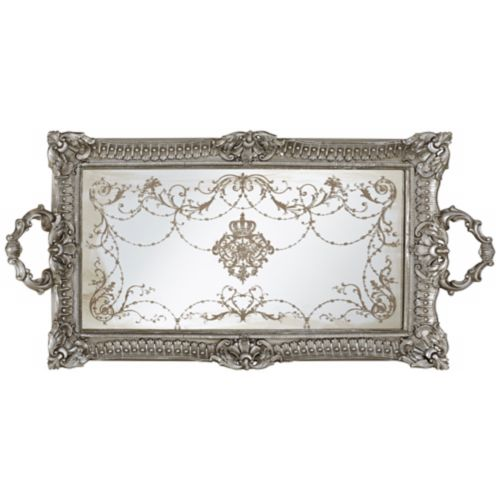 "Margeaux 23 1/4"" Antique Nickel and Mirrored Decorative Tray"