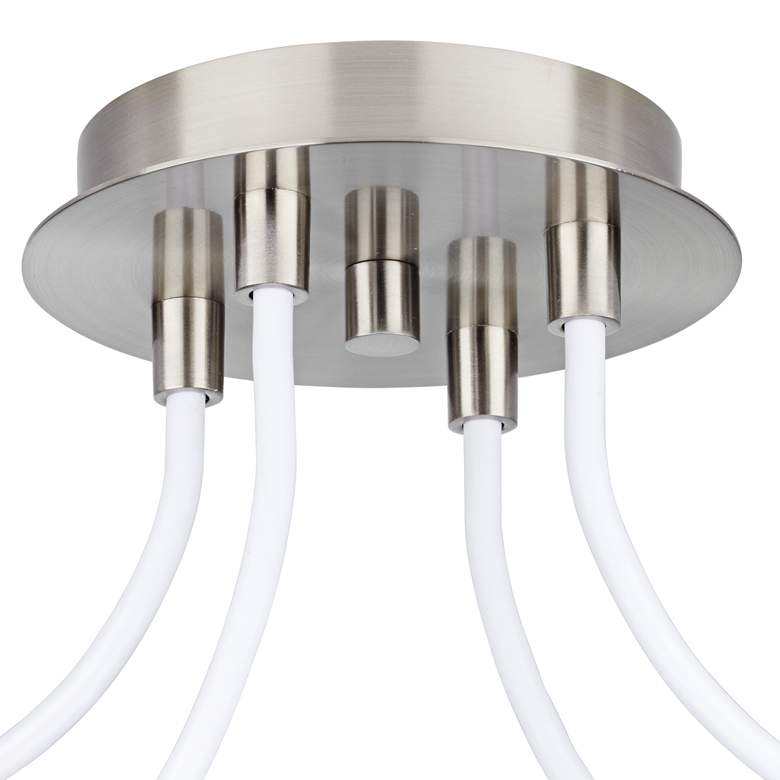 Possini Euro Double Drum Brushed Nickel 4-Light Swag Pendant more views